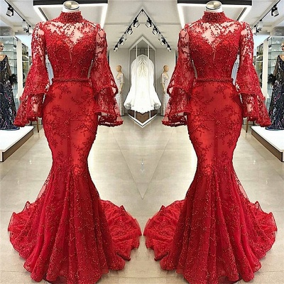 High Neck Long Sleeve Mermaid Appliques Chapel Train Prom Dresses Cheap with Beads_2