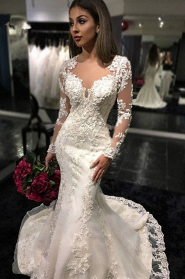 Mermaid Appliques Tulle Mermaid Charming Sheer Tulle Long Sleeves Bridal Dresses_2