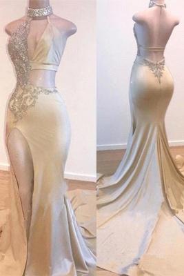 Crystal Halter Side Slit Long Prom Dresses Cheap | Custom Made A-line Open Back Sleeveless Evening Dresses_1