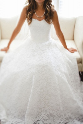 Sweetheart A Line Full Lace Wedding Dresses Cheap | Court Train Sleeveless Bridal Gowns With Buttons BO4799_1