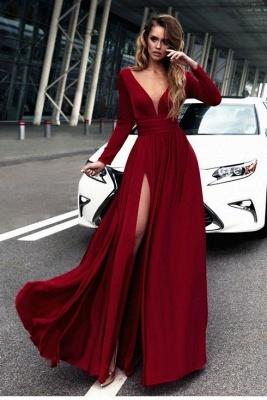 Sexy Red Long Sleeve V-neck Prom Dress | Front Split Evening Gown_2