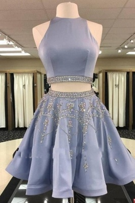 Gorgeous Custom Made A-line Crystal Sleeveless Two Piece Sexy Short Homecoming Dresses_2