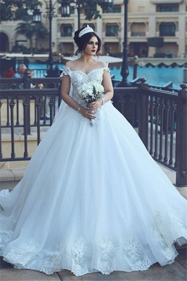 Crystal Off The Shoulder Elegant Appliques Tulle Ball Wedding Dresses Cheap Online_2