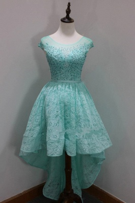 Sleeves Custom Made A-line Dresses New Arrival Sequins Scoop High-Low Cap Lace Homecoming Long Prom Dresses Cheap_2