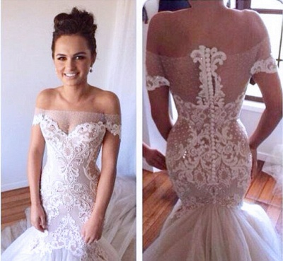 High quality New Wedding DressesReal Sample Hot sale Fashion strapless Tulle Lace Appliques Mermaid Wedding Dresses_2