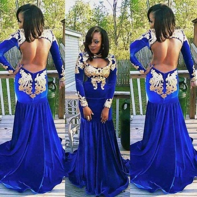 Long-Sleeve Zipper Gorgeous Appliques Mermaid Royal-Blue Prom Dress   Plus Size Prom Dress_3