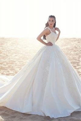 Sleeveless Satin Elegant Straps Appliques Ball Gown Wedding Dresses Cheap Online_2