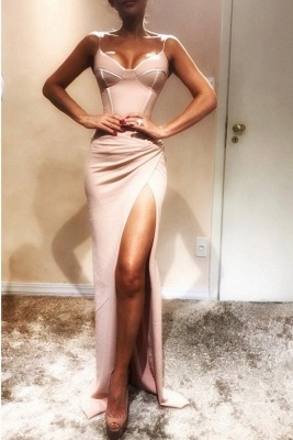 Sexy Spaghetti-Strap Sexy Mermaid Prom Dresses   Sleeveless Side Slit Evening Gowns_2