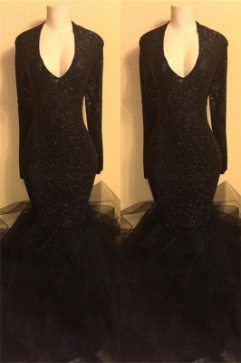 Black Long Prom Dresses Cheap with Sleeves | Mermaid Formal Dresses Plus Size BA8155_2