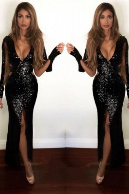 Sexy Front Split Black Sequined Prom Dress | Long Sleeve Prom Dress_2