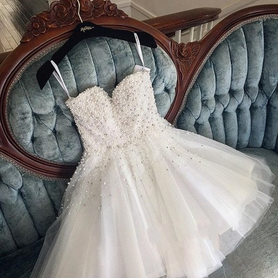 Knee Length White Tulle Pearls Cute Sexy Short Homecoming Dresses_3
