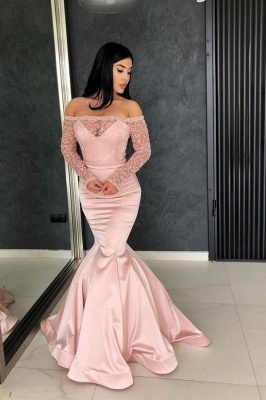 Glamorous Mermaid Off-the-Shoulder Prom Gowns | Long Sleeve Lace Evening Dresses_2