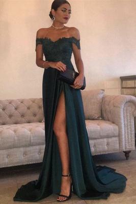 Long Lace Off-the-Shoulder Floor-Length Split Elegant Evening Dress_2