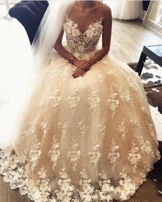 A-Line Sweep Train Lace Appliques Exquisite 3D-Floral Sweetheart Wedding Dresses_3