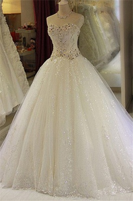 Sparkling Beaded Wedding Dresses | Sweetheart Sleeveless Lace Lace Appliques Bridal Dresses_2
