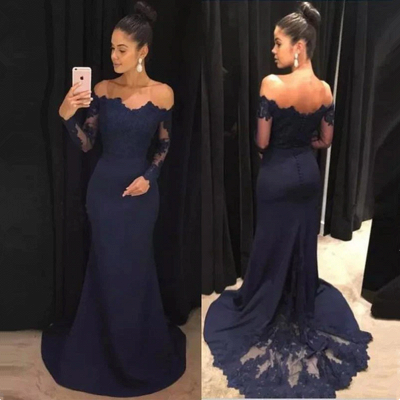 Long Sleeve Navy Blue Formal Dresses | Cheap Lace Long Prom Dresses_3