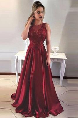 Vintage  Burgundy Evening Dresses | Scoop Sleeveless Lace Appliques prom Dresses_2