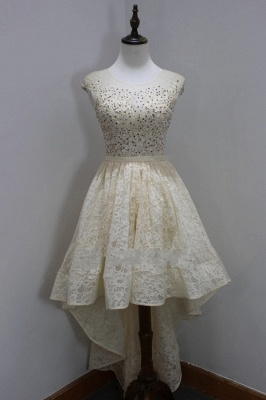 Sleeves Custom Made A-line Dresses New Arrival Sequins Scoop High-Low Cap Lace Homecoming Long Prom Dresses Cheap_3