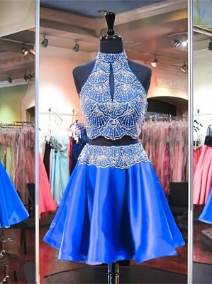 High Neck Sleeveless Beads Two Piece Mini Delicate Sexy Short Homecoming Dresses_2