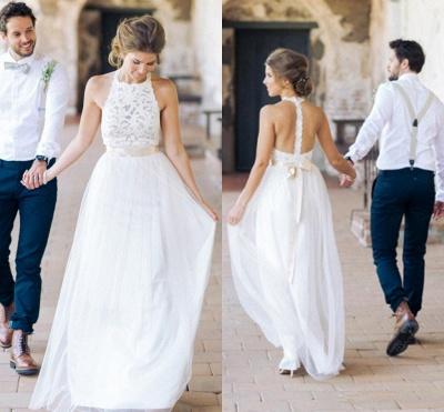Floor Length A-Line Cheap Halter Tulle Sleeveless Wedding Dresses Online_4