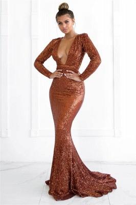Sexy Deep V-Neck Long Sleeves Mermaid Prom Dress_2
