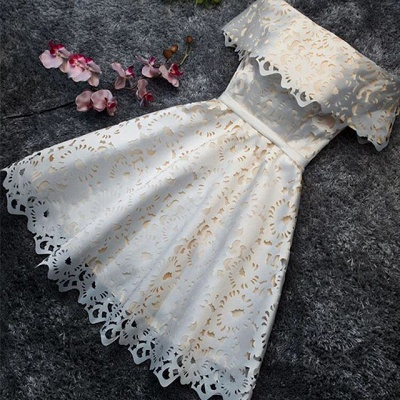 Simple Lace Custom Made A-line Off The Shoulder Sexy Short Homecoming Dresses_3