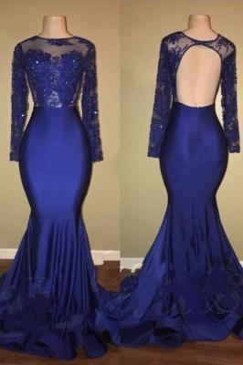 Royal Blue Beaded Long Sleeve Ruffles Skirt Mermaid Prom Dresses Cheap_2