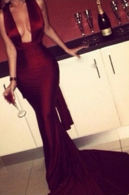 Burgundy Mermaid Prom Dresses Sexy Cross Back Cheap Formal Gowns_1