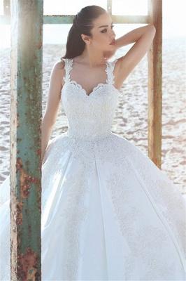 Sleeveless Satin Elegant Straps Appliques Ball Gown Wedding Dresses Cheap Online_3