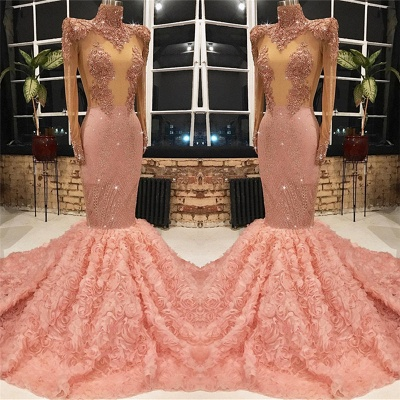 Long Sleeve Long Prom Dresses Cheap for Juniors Online | Mermaid Lace Appliques Pink Formal Dresses BC1133_3