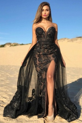 Sexy Black Sweetheart Prom Dresses Lace | Beaded Side Slit Overskirt Cheap Formal Dress Long_2