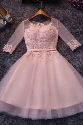 Appliques Tulle Half Sleeves Pink Sexy Short Homecoming Dresses_2