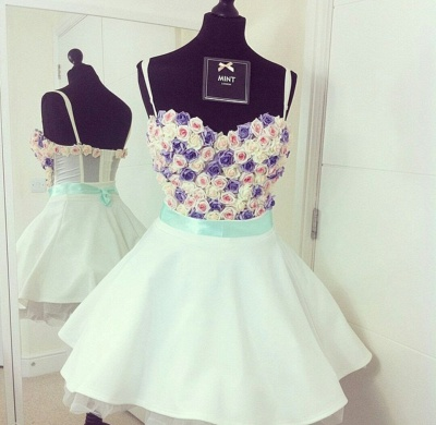 Spaghetti Straps Colorful Flowers Lovely Mini Sweetheart Sexy Short Homecoming Dresses_3