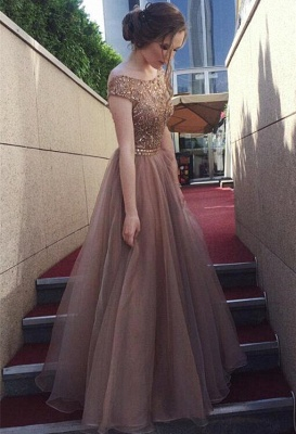 Chocolate Crystals  Tulle Sweep Train Prom Dress_2