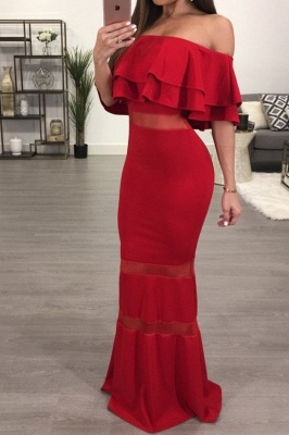 Sexy Red Off-the-shoulder Mermaid Evening Gown   Bodycon Evening Dress_2