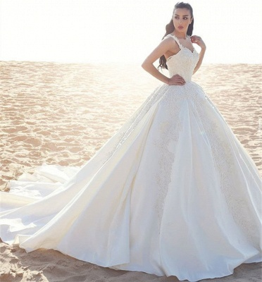 Sleeveless Satin Elegant Straps Appliques Ball Gown Wedding Dresses Cheap Online_4