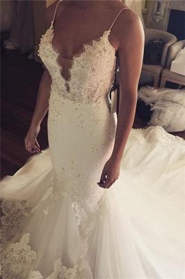 Tulle Sexy Spaghetti Straps Mermaid Elegant Lace Appliques Wedding Dress Cheap BA5042_2