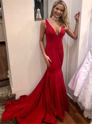 Simple Red Sexy Mermaid Evening Dresses | Sexy Open Back Long Prom Dresses_3