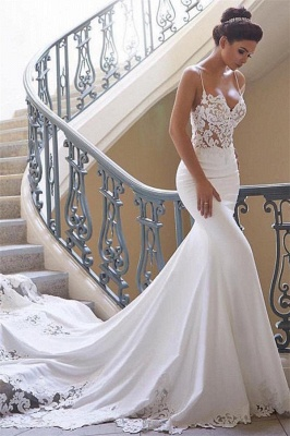 Sexy Spaghetti Strap Cheap Wedding Dresses |  Mermaid Chiffon Lace Bridal Gown Online