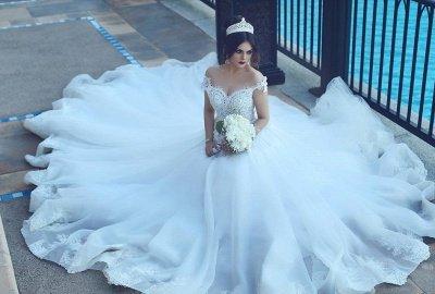 Crystal Off The Shoulder Elegant Appliques Tulle Ball Wedding Dresses Cheap Online_4
