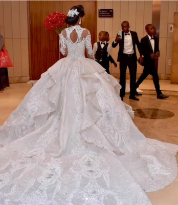 Gorgeous Crystalss Ball Gown Wedding Dresses with Sleeves | Sparkling Bridal Gowns with Cathedral Train_4