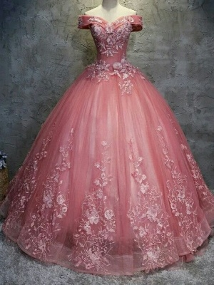 Elegant Off-The-Shoulder Ball gown Appliques Sleveless Floor-Length Lace-up Prom Dresses_3