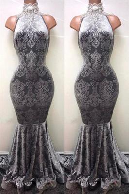 Silver Mermaid Long Prom Dresses Cheap   Sleeveless High Neck Plus Size Formal Dresses BA8233_2