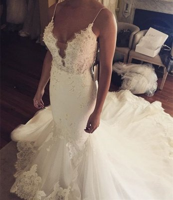 Tulle Sexy Spaghetti Straps Mermaid Elegant Lace Appliques Wedding Dress Cheap BA5042_3