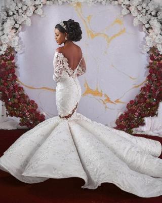 Luxurious Off-the-shoulder Long Sleeves Mermaid Ruffles Appliqued Beading Wedding Dresses_4