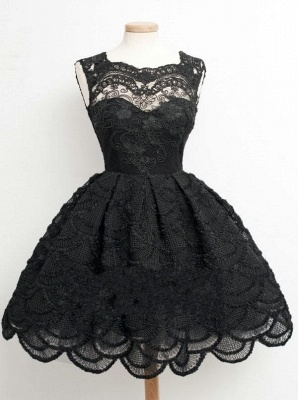 Knee Length Black Little Lace Dresses Sexy Short Homecoming Dresses_2