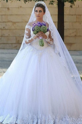 Appliques Tulle Long Sleeves Cheap Online New Arrival Lace Beadings Elegant Ball Gown Wedding Dresses_3