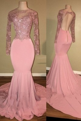 Open Back Long Sleeve Beaded Lace Appliques Pink Shiny Mermaid Prom Dresses Cheap_2