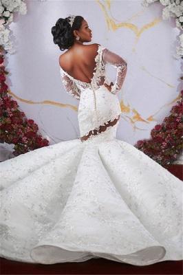Manches longues sirène hors-la-épaule volants robes de mariée perles appliques_2