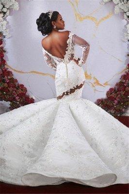 Luxurious Off-the-shoulder Long Sleeves Mermaid Ruffles Appliqued Beading Wedding Dresses_2